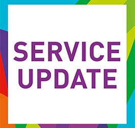 A white tile with a rainbow yarra leisure coloured border saying service update