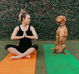 A girl and her dog sitting on yoga mats doing yoga at home